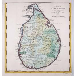 Ceylon Sri Lanka India old antique map Bellin 1750