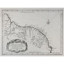 Carte de la Guyane Suriname French Guiana old map Bellin 1757