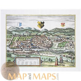 Campidonia vulgo Kemptten, Kempten in Allgäu Old map Braun and Hogenberg 1582