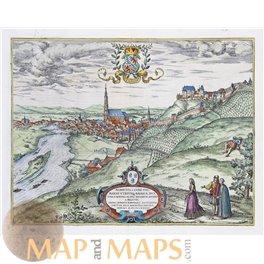 Landshut Alberto D.G. Com Old map Braun and Hogenberg 1582
