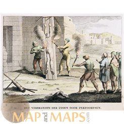 WITCH BURNING BY PITCH TORCHES 18 TH CENTURY PRINT CALMET 1725