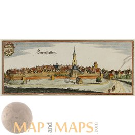 Stadt Dornstetten Germany, Old print by Merian 1656