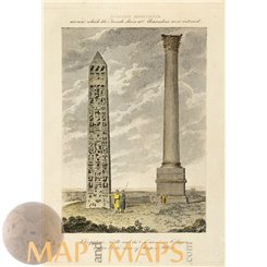 ANTIQUE PRINT, CLEOPATRA'S NEEDLE AND THE ALEXANDRE COLOM, EGYPT, COOKE 1807.