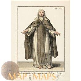 Theatine Nun Religious Print Monastery sister Helyot 1714