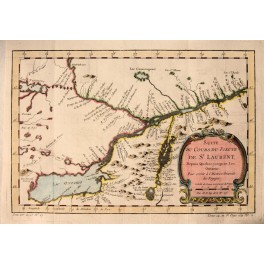 St. Lawrence River Canada antique map Bellin 1757