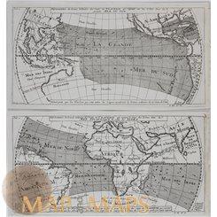 Vents de Traverse Atlantique & celle des Indes by Bellin 1753