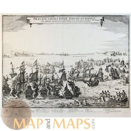 Naval battle between the Swedes and the Danes by Merian 1651