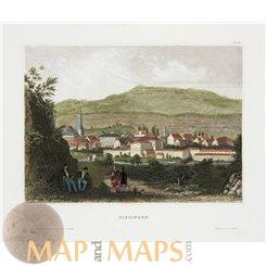 Germany old prints, Bad Kissingen Bavaria by Meyer 1850