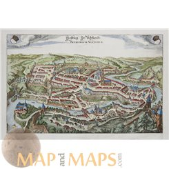 Friborg, Freiburg Helvetica, Switzerland Old map Merian 1655