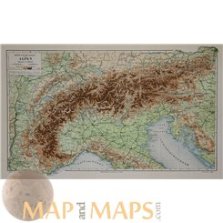 Alps Mountains Old map Alpine Countries by Meyer 1905
