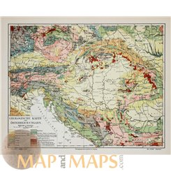Antique Geological map of Austrian-Hungary. Meyer 1905