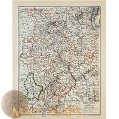 Rhineland and Luxembourg.Old map Meyer 1905