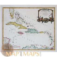 Antilles West Indies Old map La Mer Du Nord Vaugondy 1750