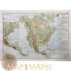 NORTH AND CENTRAL AMERICA RELIEF OF THE GROUND ANTIQUE MAP BY DRIOUX 1890