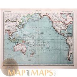 Oceanie Old map Pacific Ocean Franz Schrader 1890