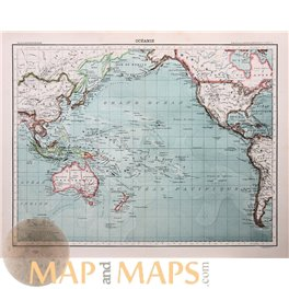 Pacific Ocean map Australia Asia islands by Franz Schrader 1893