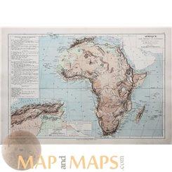 Africa Algiers Madagascar Antique Map Afrique Drioux 1890