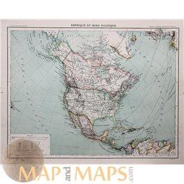 America Canada Alaska Large antique atlas map 1893
