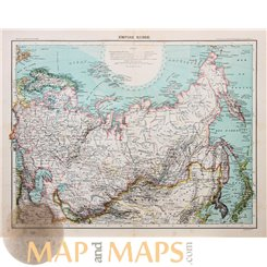 Russian Empire with Japan Old map Russe by Schrader 1890