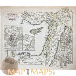 SYRIA KINGDOM JERUSALEM, CYPRUS EGYPT ORIGINAL ANTIQUE MAP KARL SPRUNER 1846