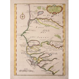 Senegal Gambia Kingdoms antique map by Bellin 1747