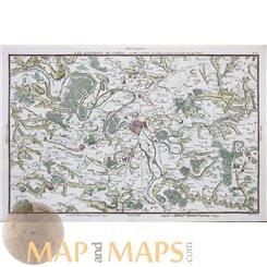 Paris Versailles gardens France Antique map LES ENVIRONS DE PARIS Philippe 1787