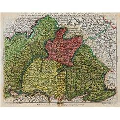 Germany miniature antique atlas map/Lotter/Lobeck 1760