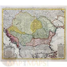 Carte d'Hongrie Old map Balkan countries by Homann 1744