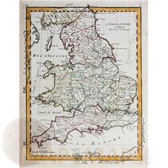 England Old antique map L'Angleterre Le Rouge 1756