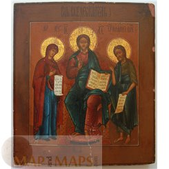 A Deisis. Russian 18th century Icon. Christ flanked by the Mother of God and John the Baptis
