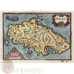 Rhodes Greece Old map Rhodi Greek Islands by Petrus Kaerius 1598