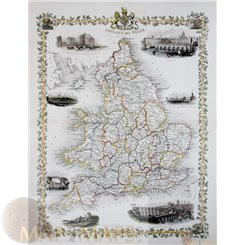 England and Wales Antique map by Tallis/Rapkin 1851