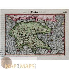 Greece Morea Peloponnesus, Antique Maps Mercator/Hondius Atlas Minor 1614