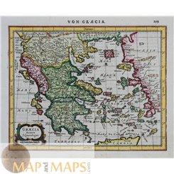 Greece Macedonia, Old map Ottaman Empire Hondius 1651