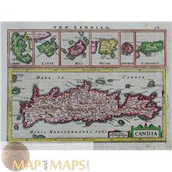 Greece Candia, Antique Map Crete Mercator/Hondius 1651