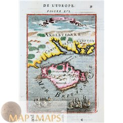 Isle of Wight Old map British Isles, by Allain Manesson Mallet 1683