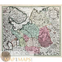 Russia Old map Mappae Imperii Moscovitici Seutter 1730