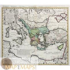 Greece Imperii Turcici Europaei Terra in Primis Graecia by Homannn 1741