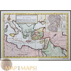 St. Paul Travels Jerusalem to Italy Old map by Rymer 1790
