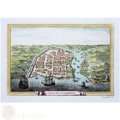 Haiti. Old town print St. Domingue West Indies Bellin 1754