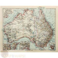 Australia Tasmania antique Old map Meyer 1895