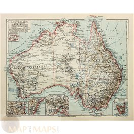 ANTIQUE MAP OF AUSTRALIA TASMANIA MEYERS 1910