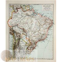 Brazil Chili Argentina Old map Brasilien Meyer 1905