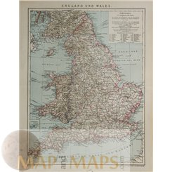 England and Wales Old Map by Brochhaus 1895