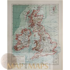Great Brittan and Ireland Antique Old Map Meyer 1905