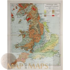 England and Wales Antique Geological map Meyer 1905