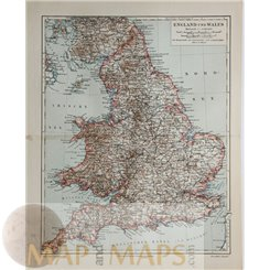 England and Wales Old map by Joseph Meyer 1905
