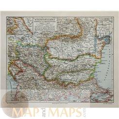 Romania Bulgaria Serbia MontenegroOld map Meyer 1905
