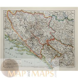 Bosnia and Montenegro Old map Meyer 1905