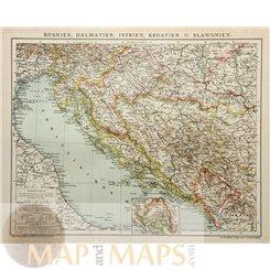 Bosnia Dalmatia Istria Croatia y Slavonia old map Brockhaus 1895